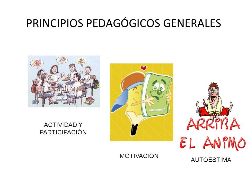 PRINCIPIOS PEDAGÓGICOS GENERALES ACTIVIDAD Y PARTICIPACIÓN MOTIVACIÓN AUTOESTIMA