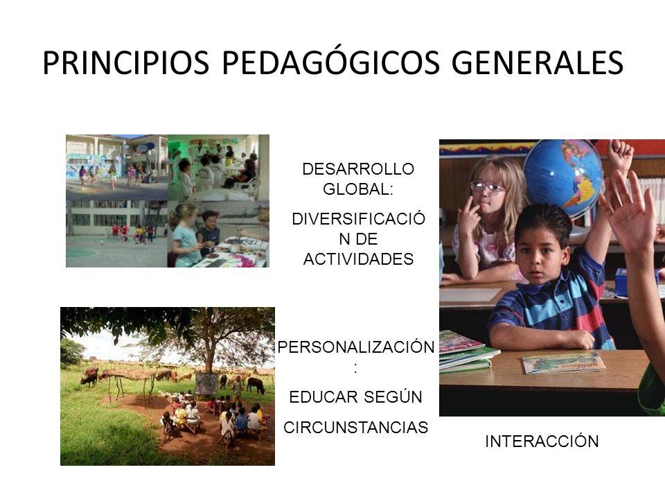 PRINCIPIOS PEDAGÓGICOS GENERALES DESARROLLO GLOBAL: DIVERSIFICACIÓ N DE ACTIVIDADES PERSONALIZACIÓN : EDUCAR SEGÚN CIRCUNSTANCIAS INTERACCIÓN