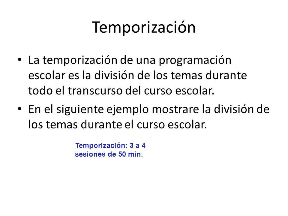 Temporización La temporización de una programación escolar es la división de los temas durante todo el transcurso del curso escolar. En el siguiente e