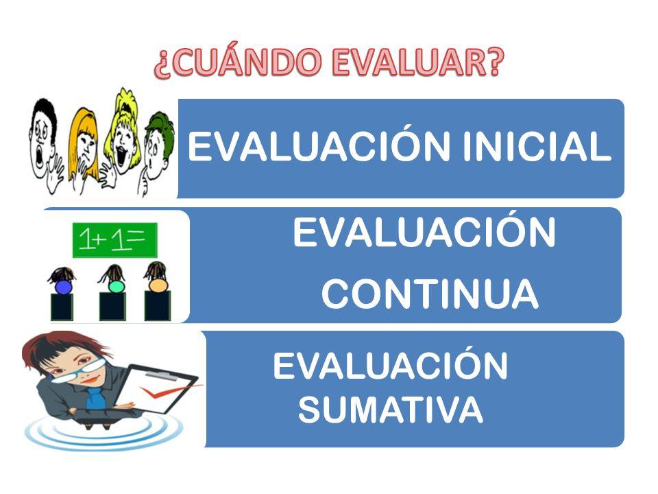 EVALUACIÓN INICIAL EVALUACIÓN CONTINUA + EVALUACIÓN SUMATIVA
