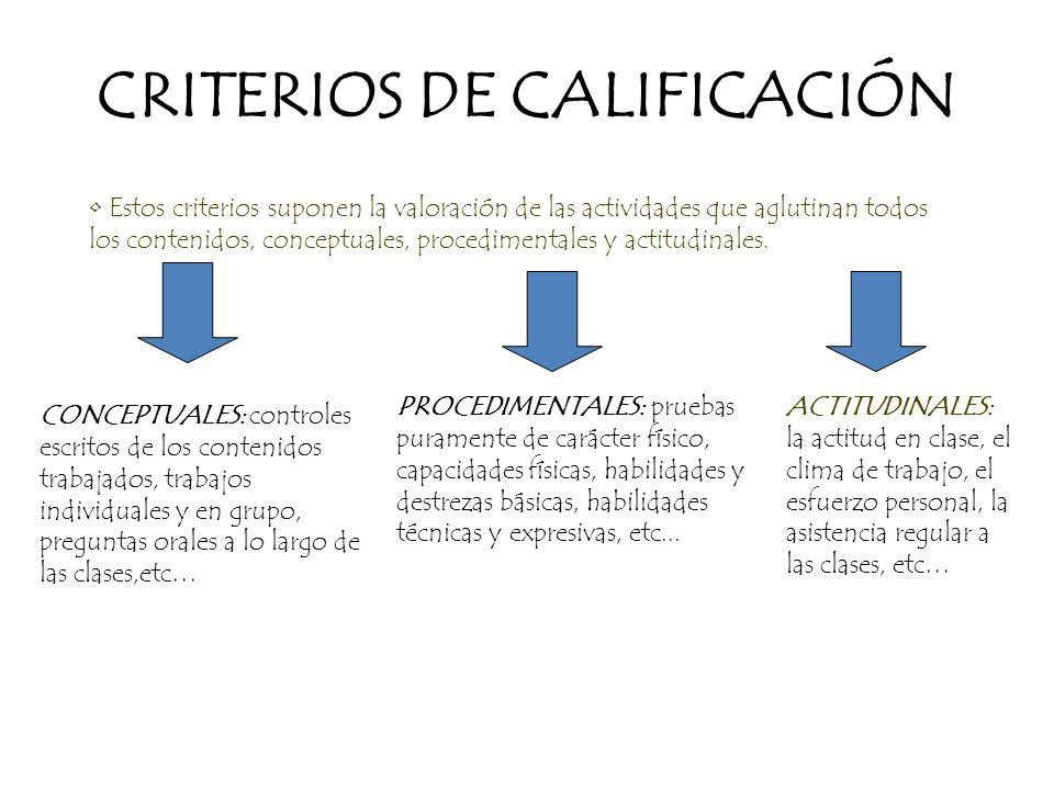 CRITERIOS DE CALIFICACIÓN Estos criterios suponen la valoración de las actividades que aglutinan todos los contenidos, conceptuales, procedimentales y