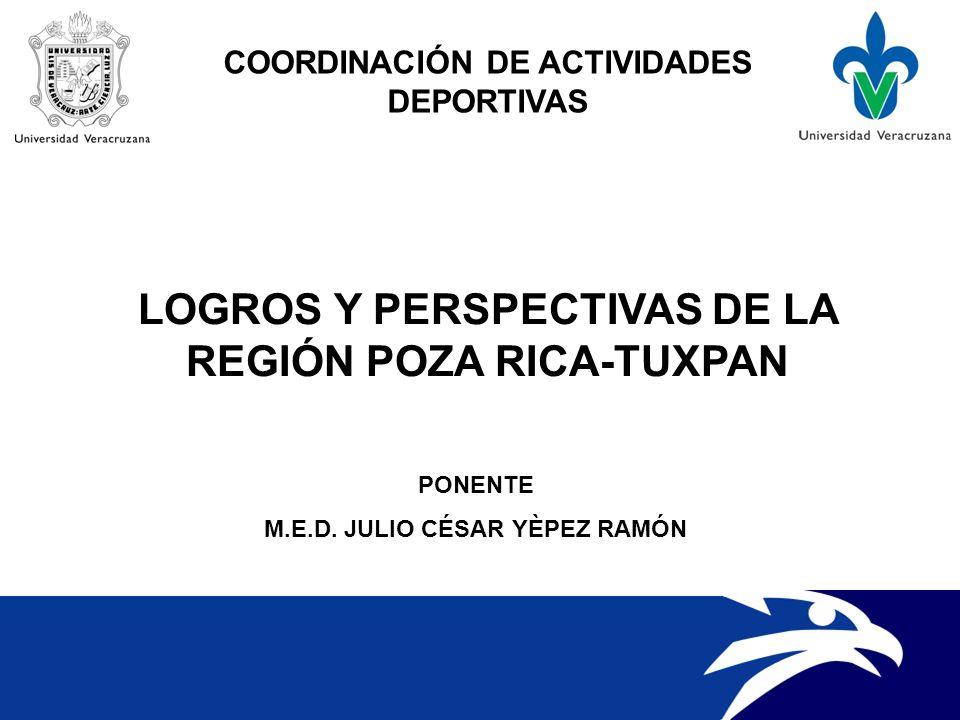 LOGROS Y PERSPECTIVAS DE LA REGIÓN POZA RICA-TUXPAN COORDINACIÓN DE ACTIVIDADES DEPORTIVAS PONENTE M.E.D.