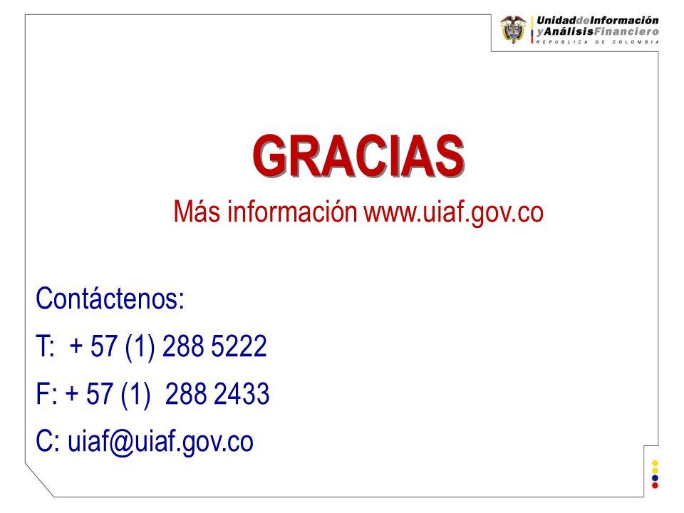 Unidad de Información y Análisis Financiero República de Colombia Contáctenos: T: + 57 (1) 288 5222 F: + 57 (1) 288 2433 C: uiaf@uiaf.gov.co GRACIAS M