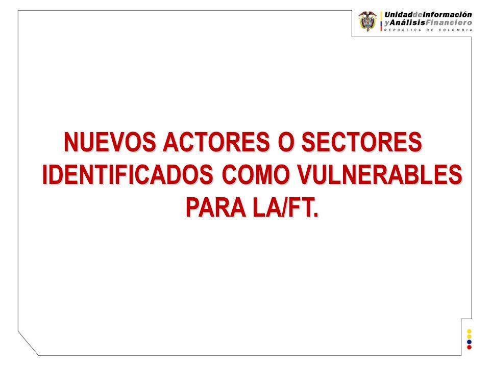 Unidad de Información y Análisis Financiero República de Colombia ¿Cuáles son los nuevos actores o sectores que se analizan en la UIAF?