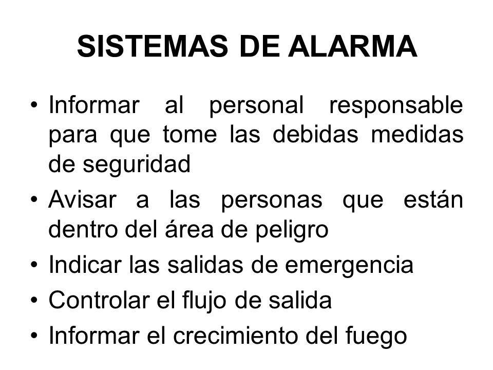 SISTEMAS DE ALARMA Informar al personal responsable para que tome las debidas medidas de seguridad Avisar a las personas que están dentro del área de