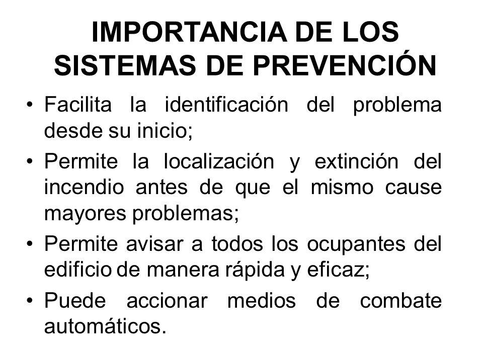 IMPORTANCIA DE LOS SISTEMAS DE PREVENCIÓN Facilita la identificación del problema desde su inicio; Permite la localización y extinción del incendio an