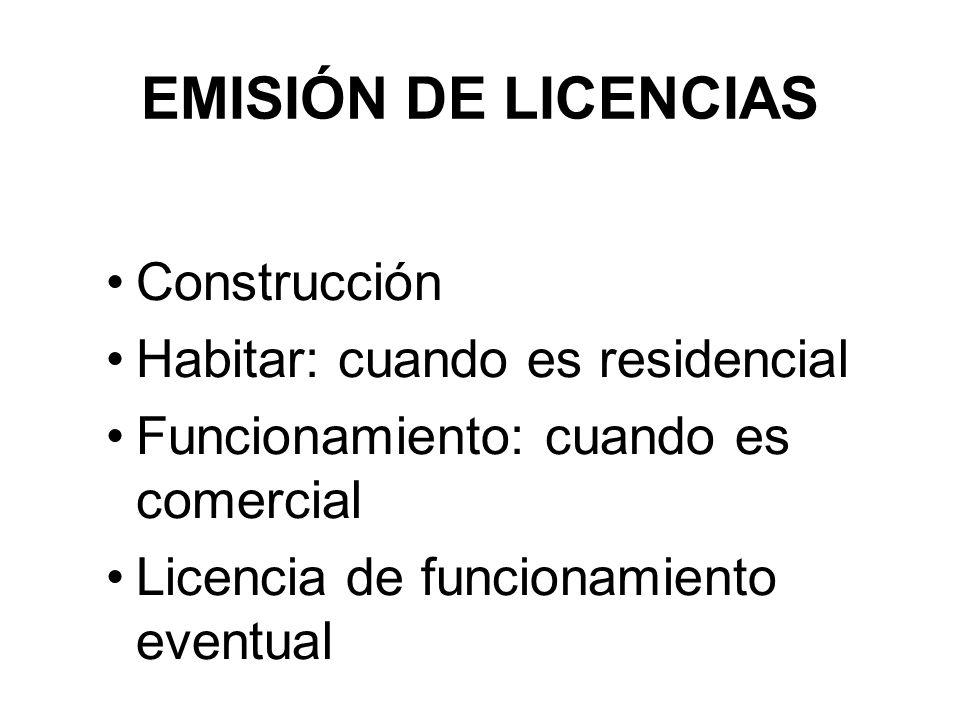 EMISIÓN DE LICENCIAS Construcción Habitar: cuando es residencial Funcionamiento: cuando es comercial Licencia de funcionamiento eventual