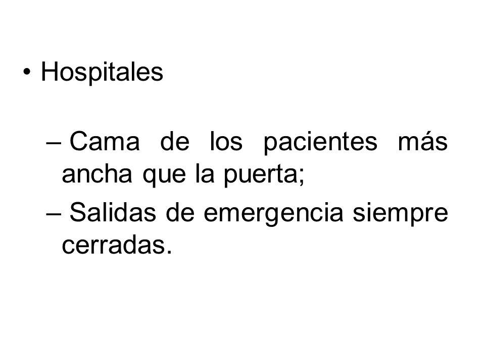Hospitales – Cama de los pacientes más ancha que la puerta; – Salidas de emergencia siempre cerradas.
