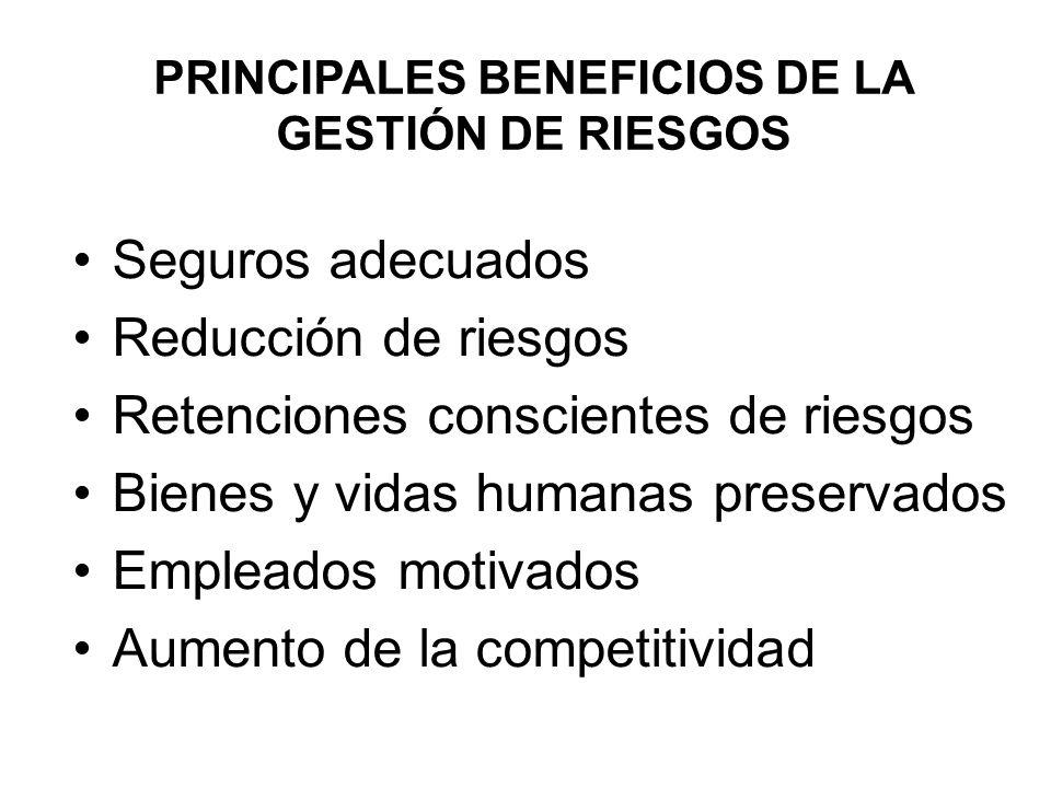 PRINCIPALES BENEFICIOS DE LA GESTIÓN DE RIESGOS Seguros adecuados Reducción de riesgos Retenciones conscientes de riesgos Bienes y vidas humanas prese