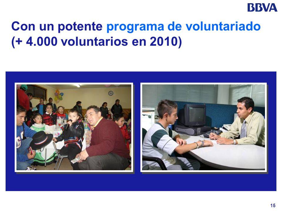 15 Con un potente programa de voluntariado (+ 4.000 voluntarios en 2010)