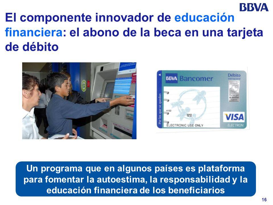 16 El componente innovador de educación financiera: el abono de la beca en una tarjeta de débito Un programa que en algunos países es plataforma para