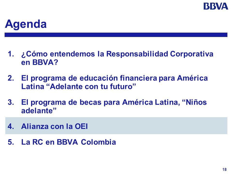18 Agenda 1.¿Cómo entendemos la Responsabilidad Corporativa en BBVA? 2.El programa de educación financiera para América Latina Adelante con tu futuro