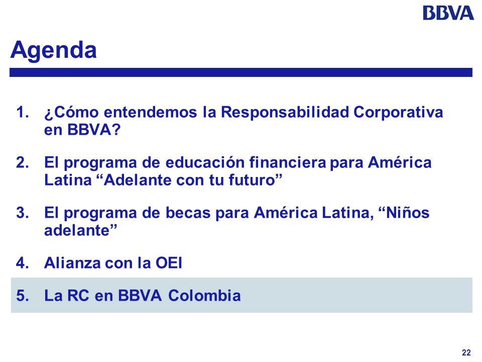 22 Agenda 1.¿Cómo entendemos la Responsabilidad Corporativa en BBVA? 2.El programa de educación financiera para América Latina Adelante con tu futuro