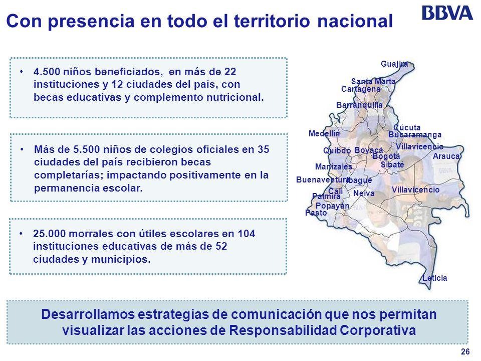 26 Con presencia en todo el territorio nacional 4.500 niños beneficiados, en más de 22 instituciones y 12 ciudades del país, con becas educativas y co