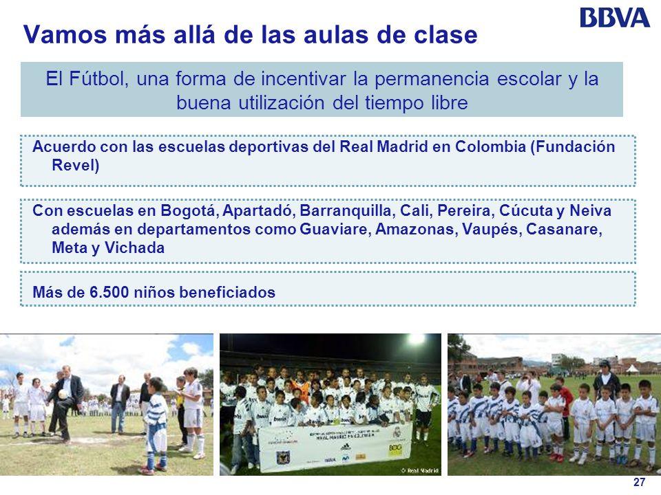 27 Vamos más allá de las aulas de clase El Fútbol, una forma de incentivar la permanencia escolar y la buena utilización del tiempo libre Acuerdo con