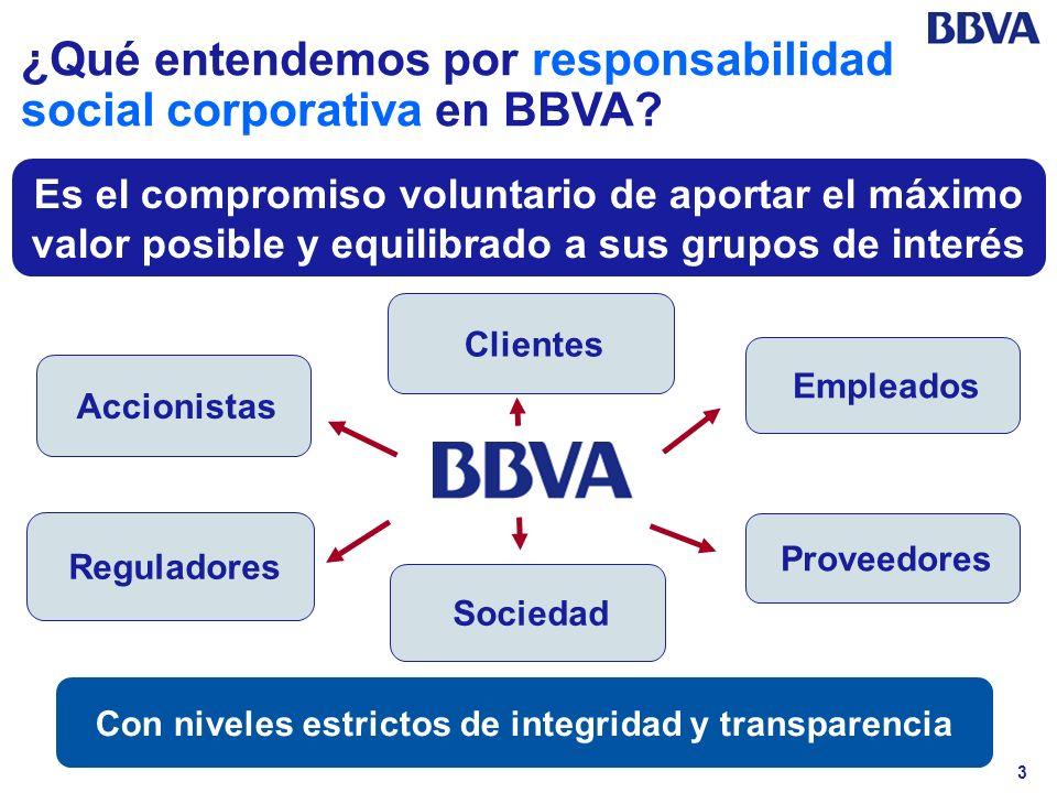 3 ¿Qué entendemos por responsabilidad social corporativa en BBVA? Es el compromiso voluntario de aportar el máximo valor posible y equilibrado a sus g