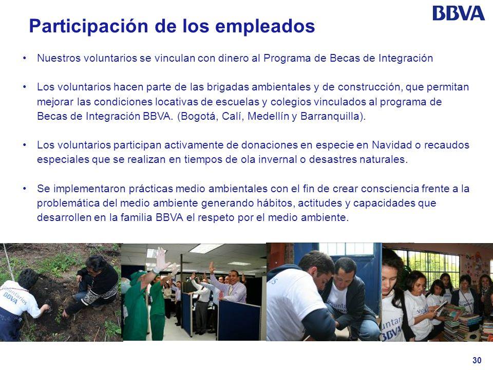 30 Participación de los empleados Nuestros voluntarios se vinculan con dinero al Programa de Becas de Integración Los voluntarios hacen parte de las b
