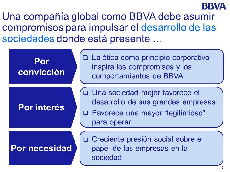 5 Una compañía global como BBVA debe asumir compromisos para impulsar el desarrollo de las sociedades donde está presente … Por convicción Por interés