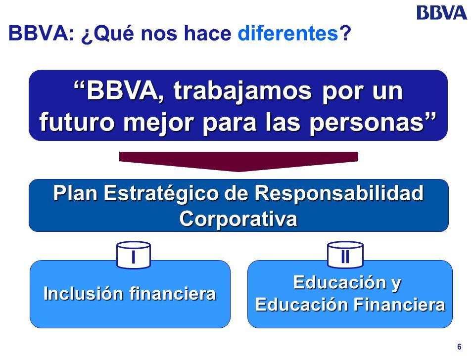 6 BBVA: ¿Qué nos hace diferentes? BBVA, trabajamos por un futuro mejor para las personas Plan Estratégico de Responsabilidad Corporativa Educación y E