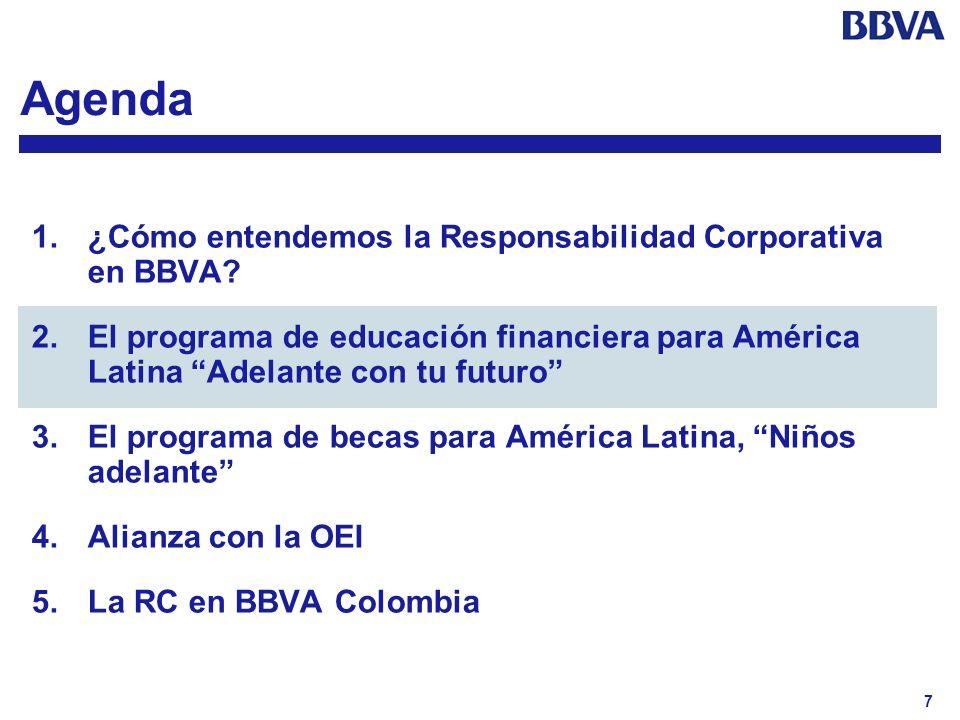 7 Agenda 1.¿Cómo entendemos la Responsabilidad Corporativa en BBVA? 2.El programa de educación financiera para América Latina Adelante con tu futuro 3