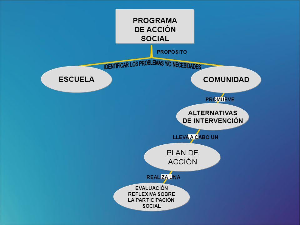 ALTERNATIVAS DE INTERVENCIÓN PLAN DE ACCIÓN EVALUACIÓN REFLEXIVA SOBRE LA PARTICIPACIÓN SOCIAL COMUNIDAD ESCUELA PROPÓSITO PROMUEVE LLEVA A CABO UN RE
