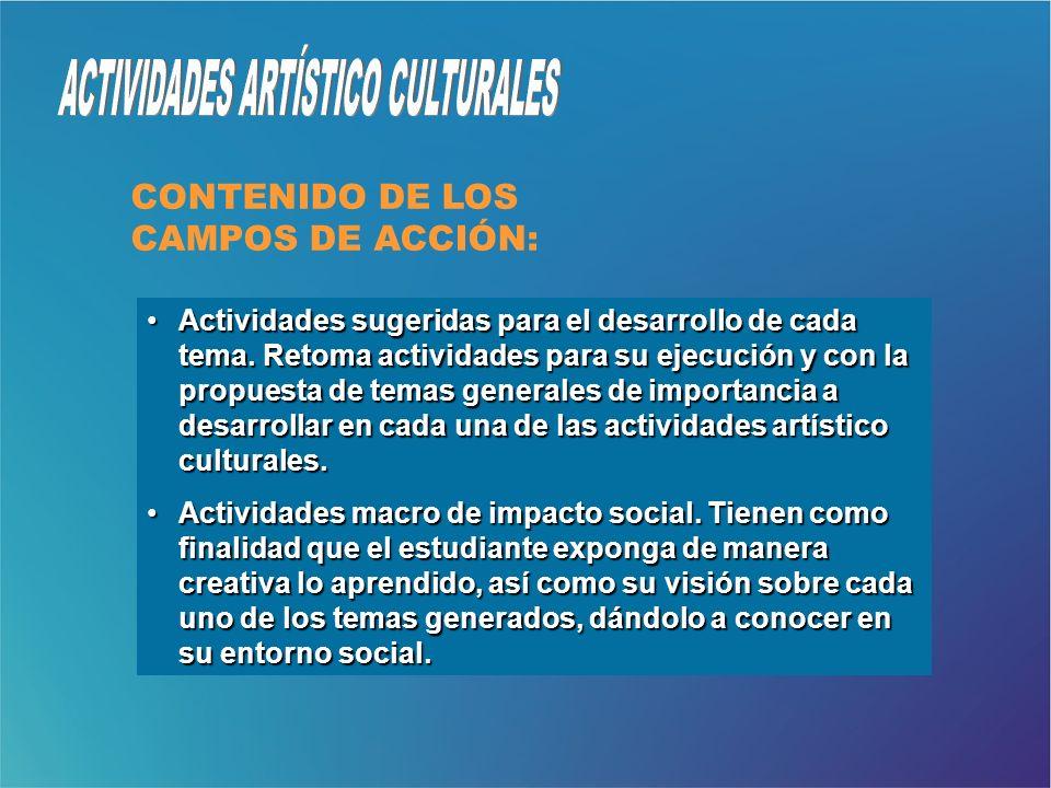 Actividades sugeridas para el desarrollo de cada tema. Retoma actividades para su ejecución y con la propuesta de temas generales de importancia a des