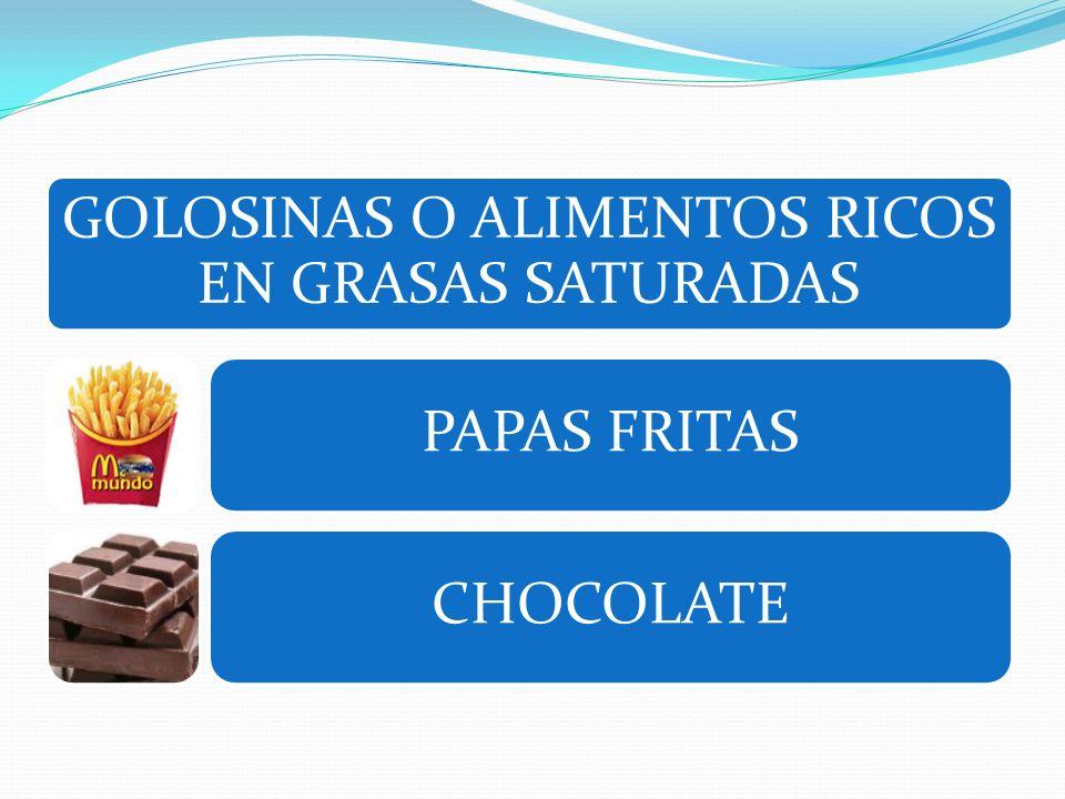 GOLOSINAS O ALIMENTOS RICOS EN GRASAS SATURADAS PAPAS FRITASCHOCOLATE