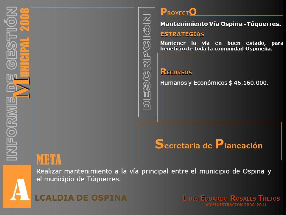 P ROYECT O Mantenimiento Vía Ospina -Túquerres.