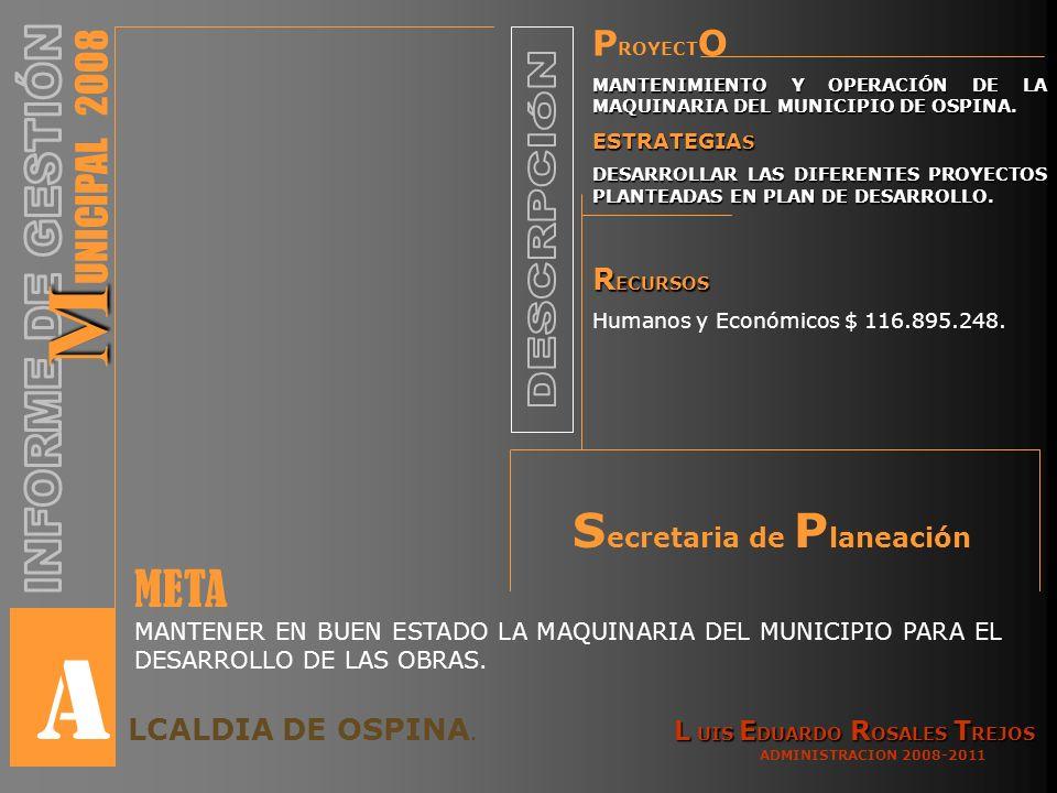 P ROYECT O MANTENIMIENTO Y OPERACIÓN DE LA MAQUINARIA DEL MUNICIPIO DE OSPINA.