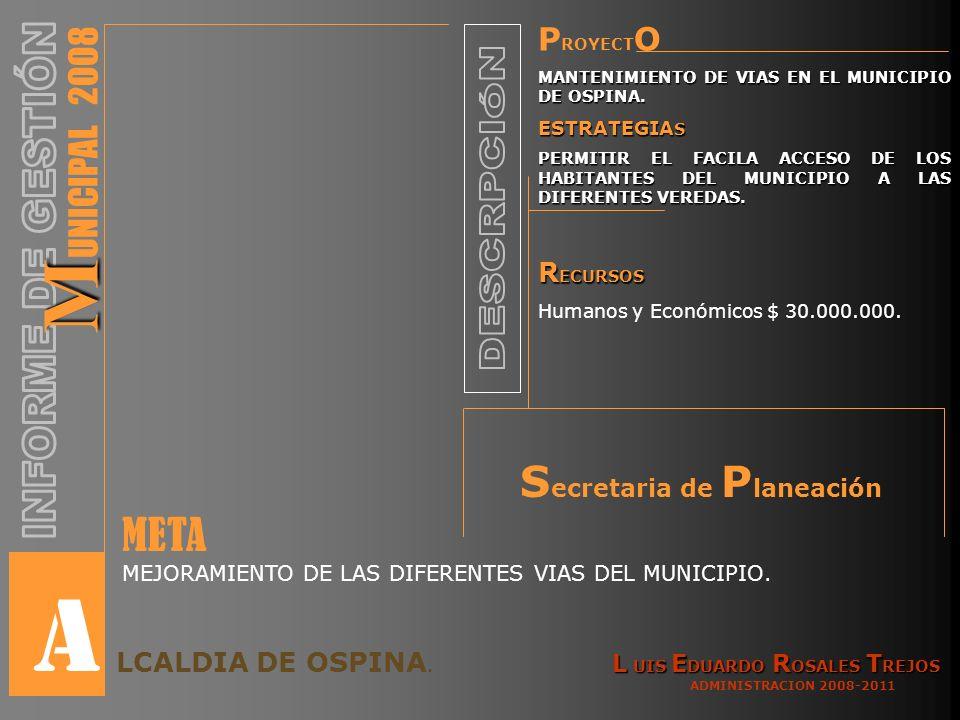 P ROYECT O MANTENIMIENTO DE VIAS EN EL MUNICIPIO DE OSPINA.