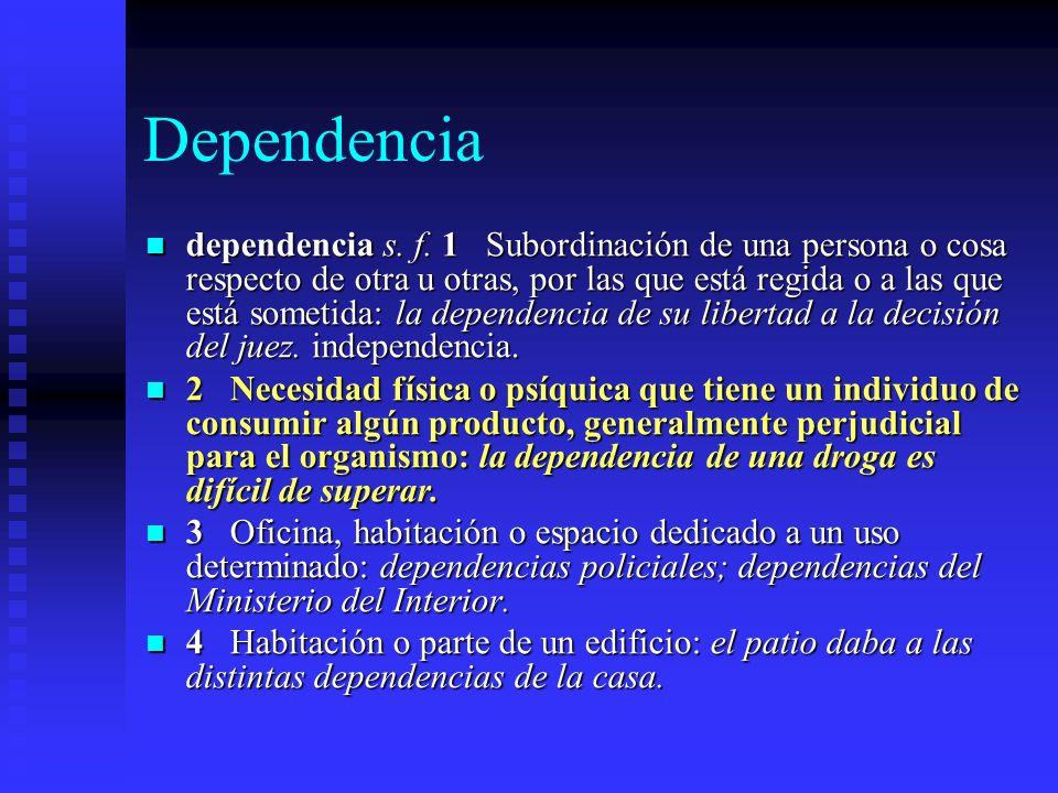 Dependencia dependencia s.f.