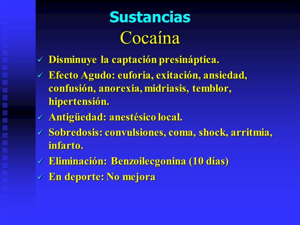 Cocaína Disminuye la captación presináptica.Disminuye la captación presináptica.