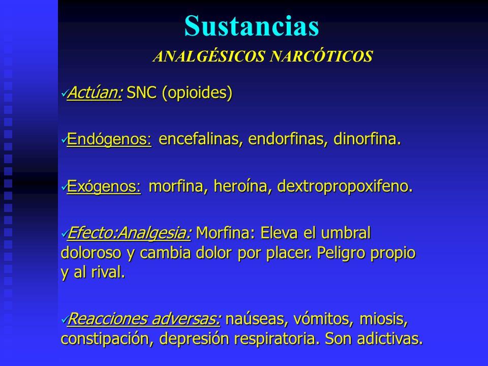 Actúan: SNC (opioides) Actúan: SNC (opioides) Endógenos: encefalinas, endorfinas, dinorfina.
