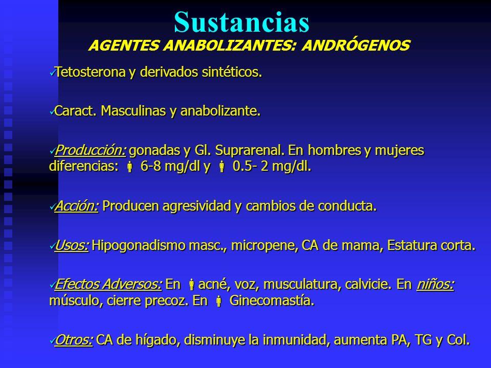 AGENTES ANABOLIZANTES: ANDRÓGENOS Sustancias Tetosterona y derivados sintéticos.