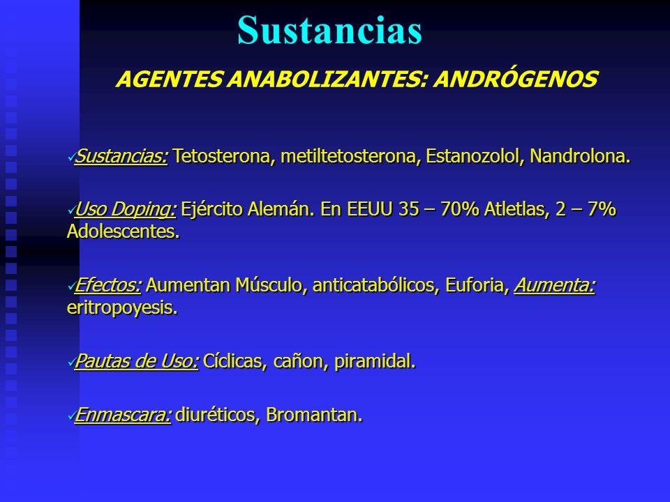 AGENTES ANABOLIZANTES: ANDRÓGENOS Sustancias Sustancias: Tetosterona, metiltetosterona, Estanozolol, Nandrolona.