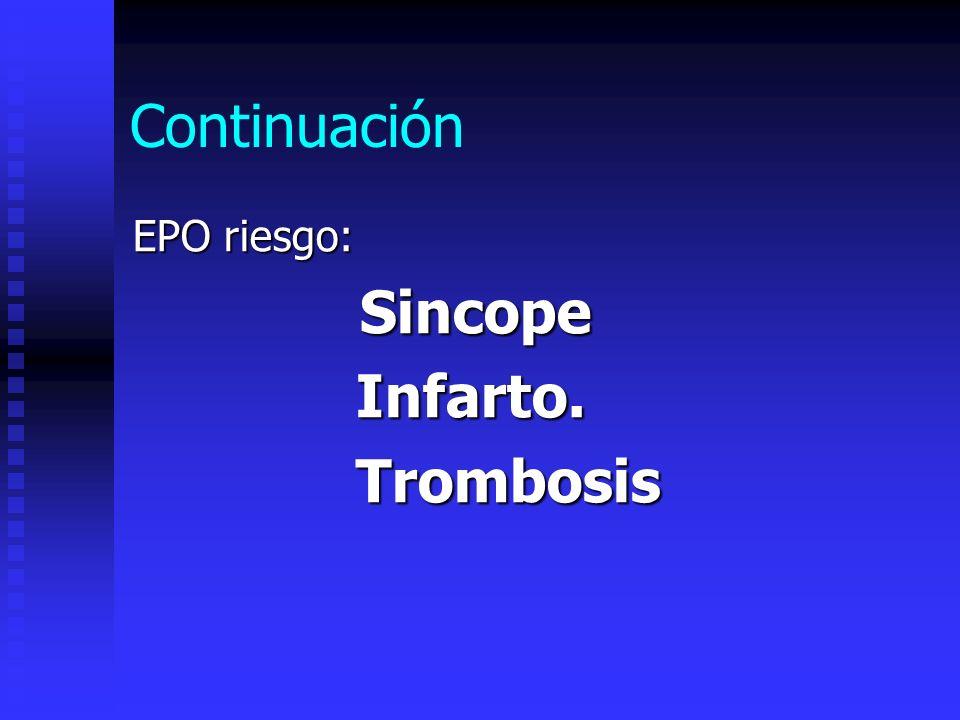 Continuación EPO riesgo: Sincope Sincope Infarto. Infarto. Trombosis Trombosis