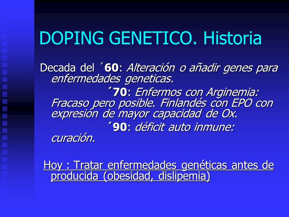 DOPING GENETICO.Historia Decada del ´60: Alteración o añadir genes para enfermedades geneticas.
