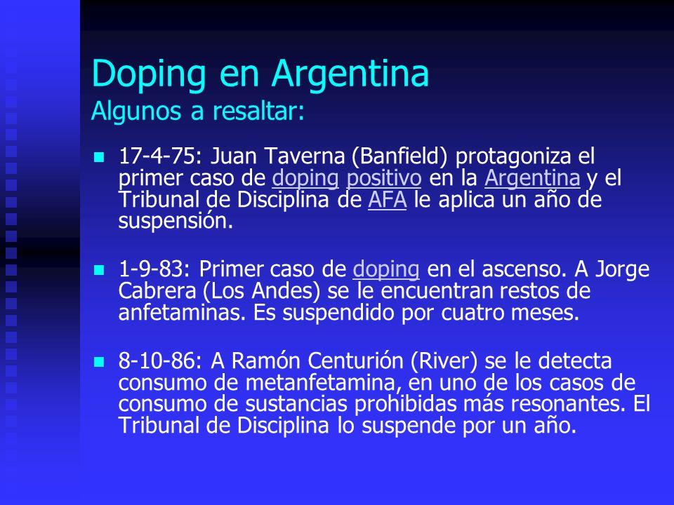 Doping en Argentina Algunos a resaltar: 17-4-75: Juan Taverna (Banfield) protagoniza el primer caso de doping positivo en la Argentina y el Tribunal de Disciplina de AFA le aplica un año de suspensión.dopingpositivoArgentinaAFA 1-9-83: Primer caso de doping en el ascenso.