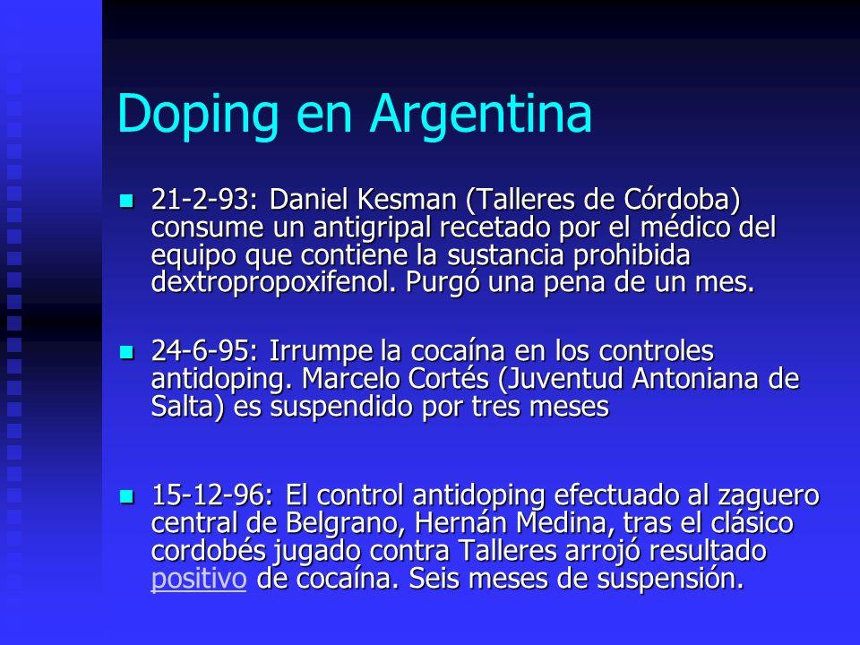 Doping en Argentina 21-2-93: Daniel Kesman (Talleres de Córdoba) consume un antigripal recetado por el médico del equipo que contiene la sustancia prohibida dextropropoxifenol.