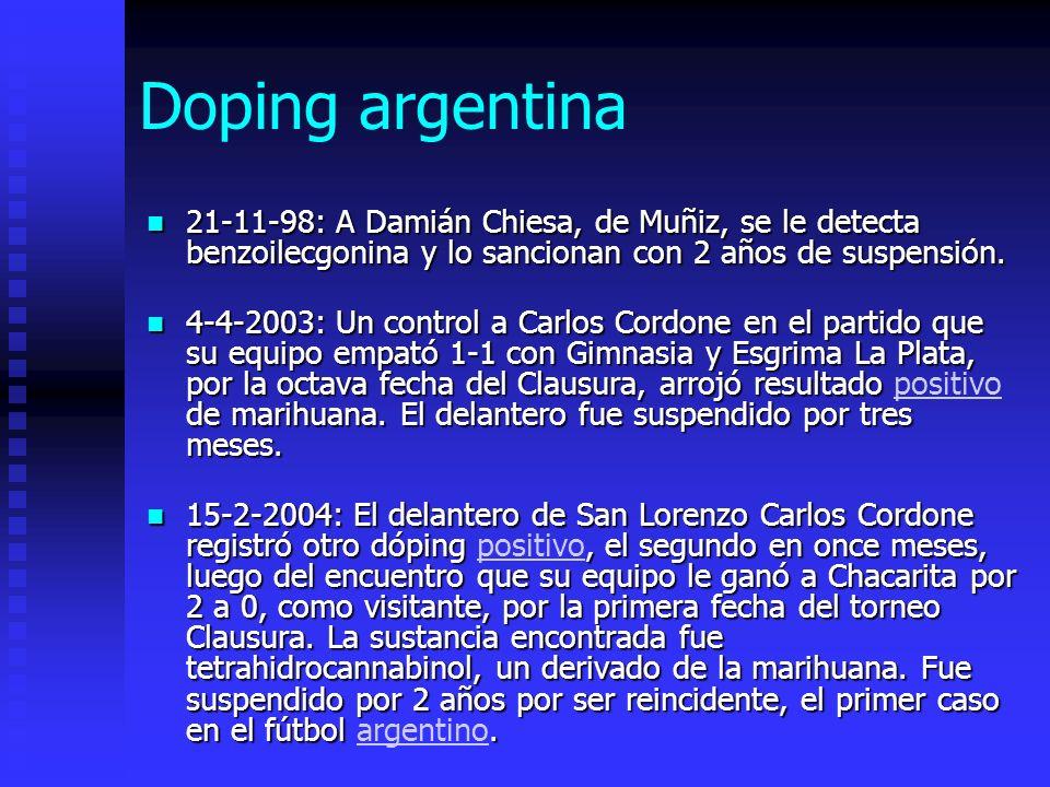 Doping argentina 21-11-98: A Damián Chiesa, de Muñiz, se le detecta benzoilecgonina y lo sancionan con 2 años de suspensión.