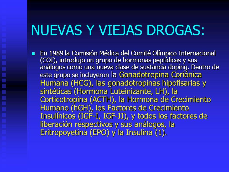 NUEVAS Y VIEJAS DROGAS: En 1989 la Comisión Médica del Comité Olímpico Internacional (COI), introdujo un grupo de hormonas peptídicas y sus análogos como una nueva clase de sustancia doping.