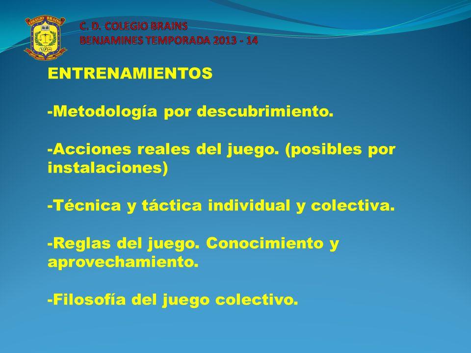 ENTRENAMIENTOS -Metodología por descubrimiento. -Acciones reales del juego. (posibles por instalaciones) -Técnica y táctica individual y colectiva. -R