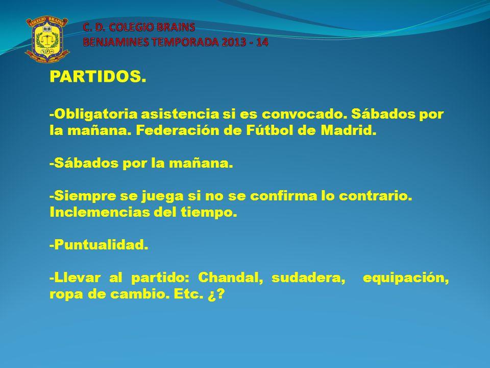 PARTIDOS. -Obligatoria asistencia si es convocado. Sábados por la mañana. Federación de Fútbol de Madrid. -Sábados por la mañana. -Siempre se juega si