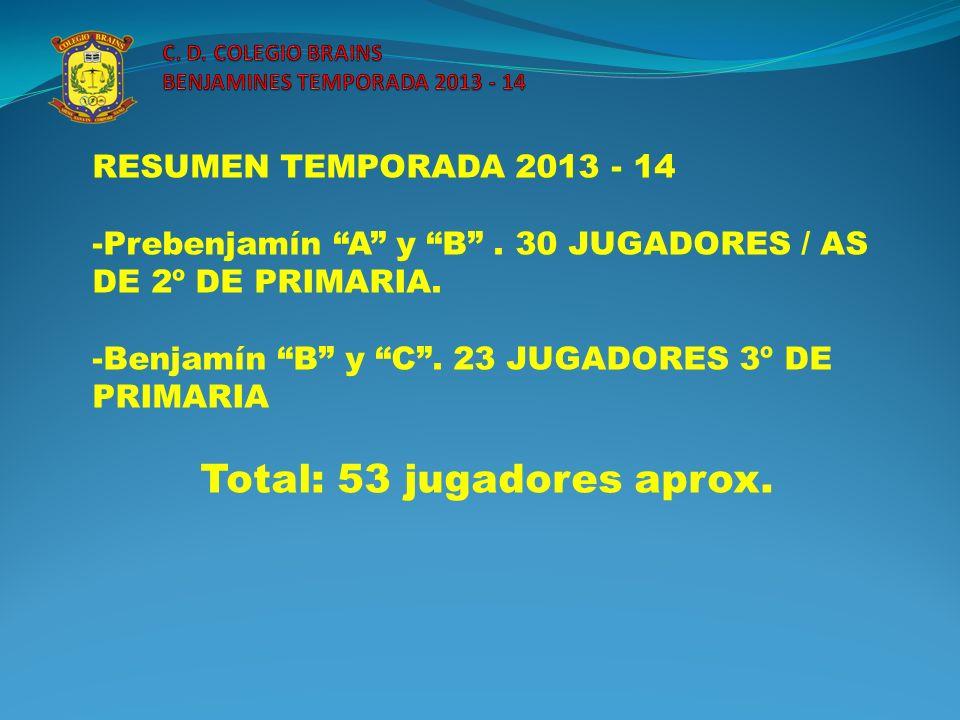 RESUMEN TEMPORADA 2013 - 14 -Prebenjamín A y B. 30 JUGADORES / AS DE 2º DE PRIMARIA. -Benjamín B y C. 23 JUGADORES 3º DE PRIMARIA Total: 53 jugadores