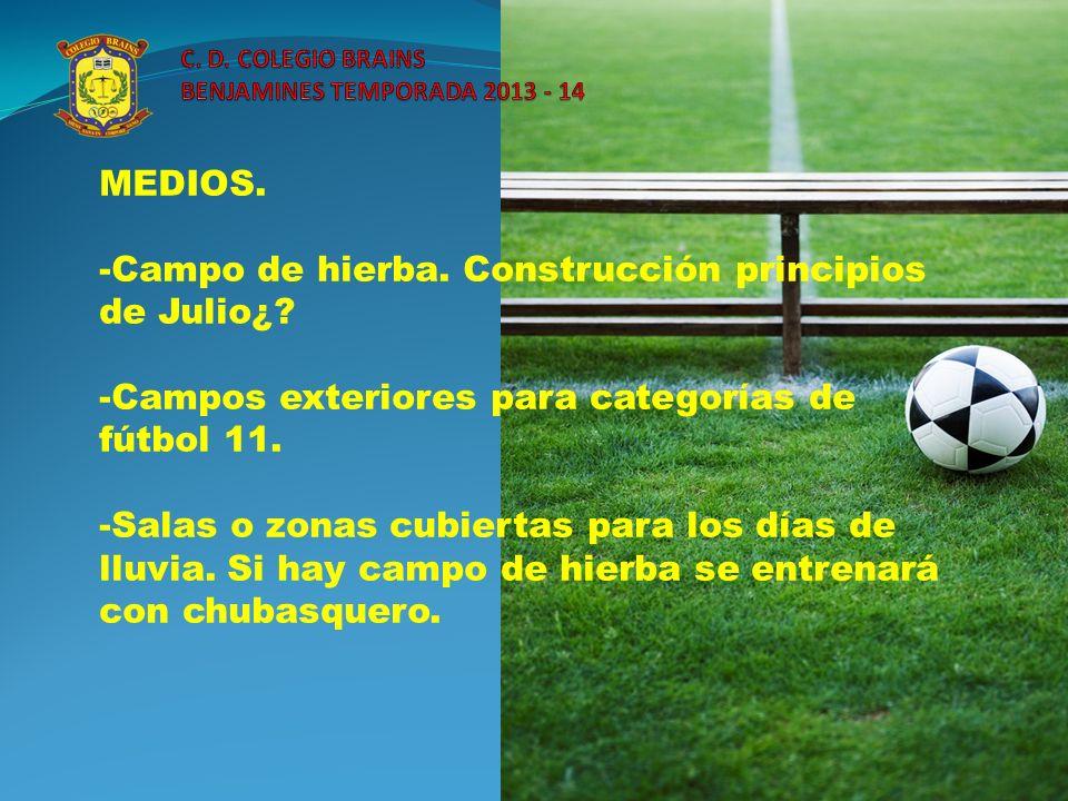 MEDIOS -Salas con proyector para días de lluvia o formación de los jugadores.