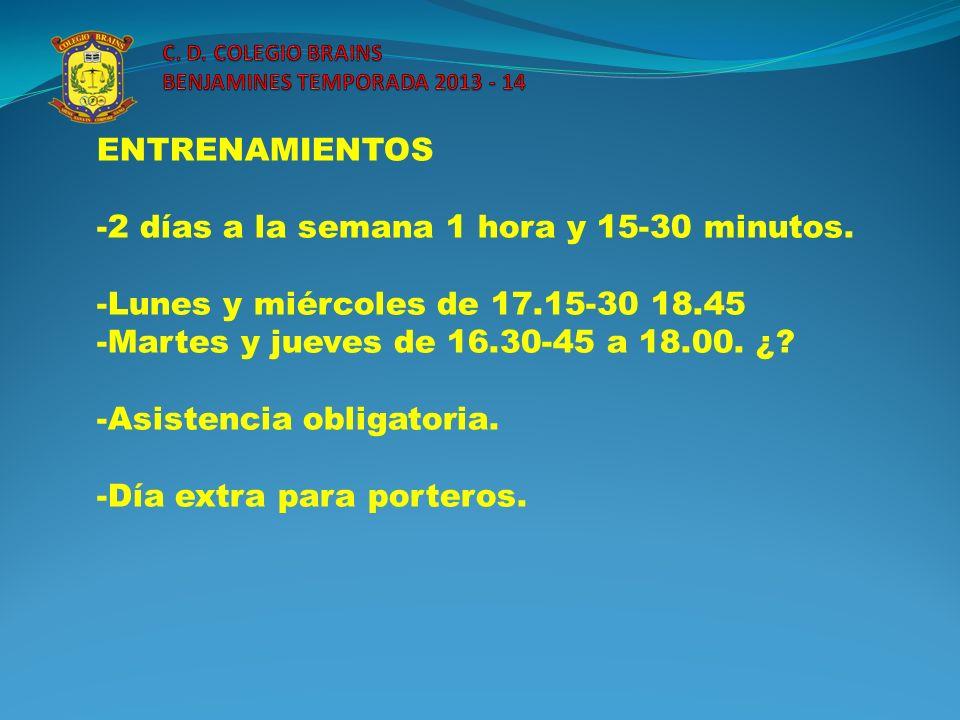 ENTRENAMIENTOS -2 días a la semana 1 hora y 15-30 minutos. -Lunes y miércoles de 17.15-30 18.45 -Martes y jueves de 16.30-45 a 18.00. ¿? -Asistencia o