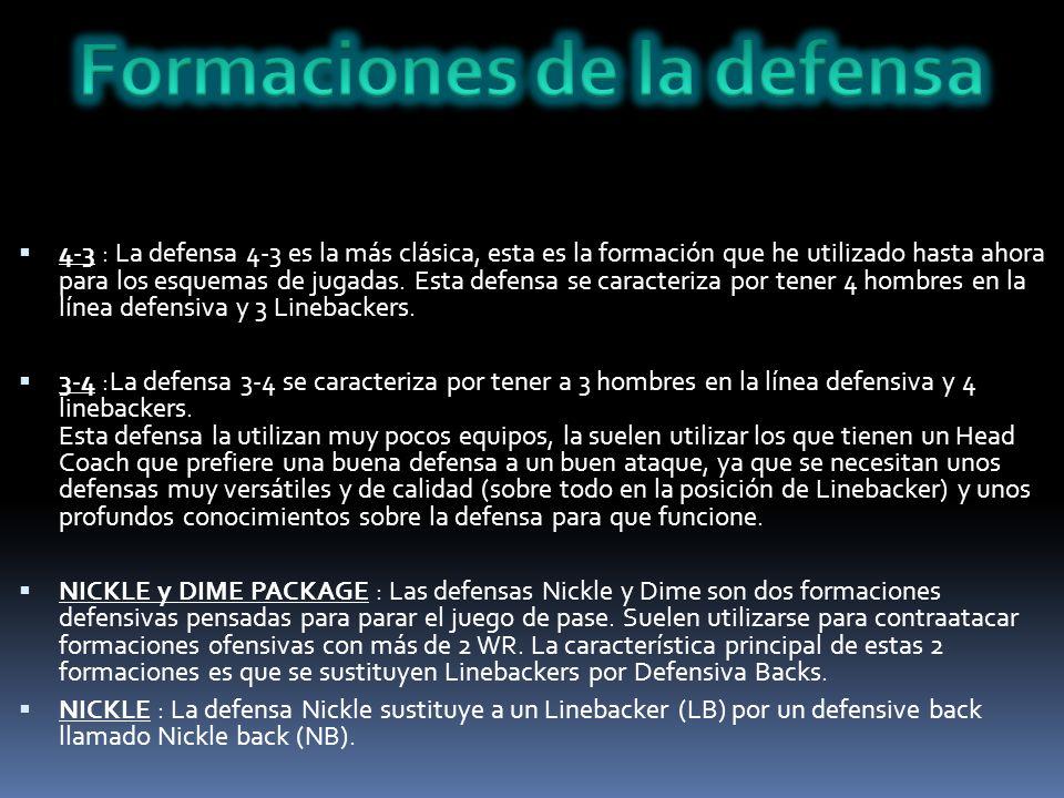 4-3 : La defensa 4-3 es la más clásica, esta es la formación que he utilizado hasta ahora para los esquemas de jugadas. Esta defensa se caracteriza po