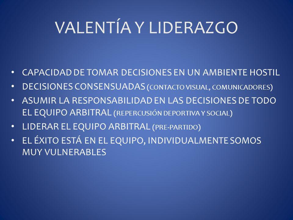 VALENTÍA Y LIDERAZGO CAPACIDAD DE TOMAR DECISIONES EN UN AMBIENTE HOSTIL DECISIONES CONSENSUADAS (CONTACTO VISUAL, COMUNICADORES) ASUMIR LA RESPONSABI