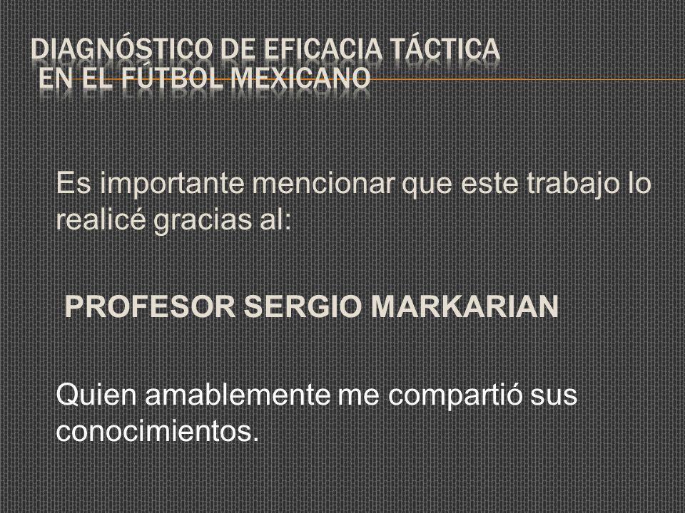 Es importante mencionar que este trabajo lo realicé gracias al: PROFESOR SERGIO MARKARIAN Quien amablemente me compartió sus conocimientos.