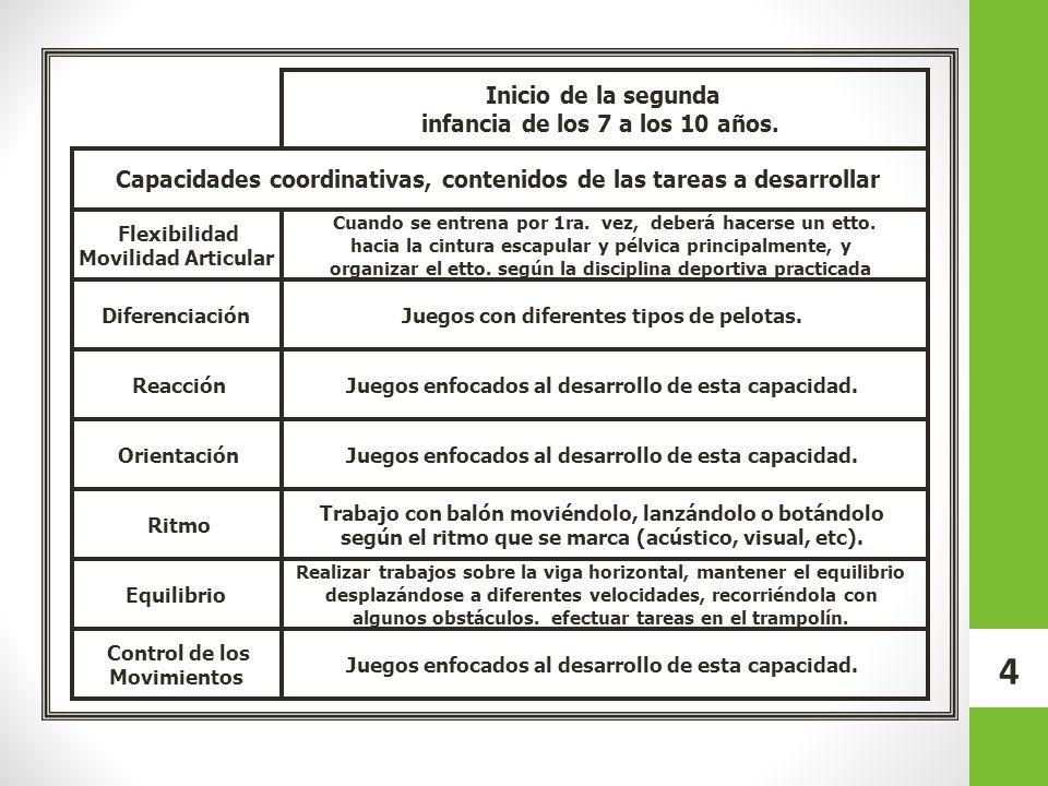 15 Contenidos por categoría CategoríaEdadContenidos 2001 2002 11-12 años Táctica.